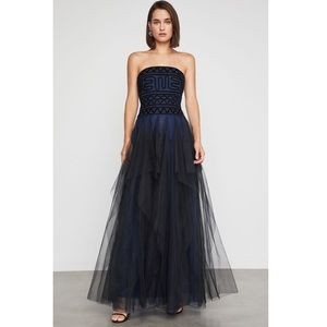 Blue and black Embroidered Tulle Lace gown